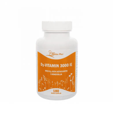 D3 vitamin 3000 IE + K2, 180 kapslar - Alpha Plus